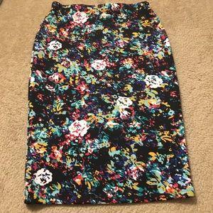Bongo Black Floral Print Stretchy Midi Skirt
